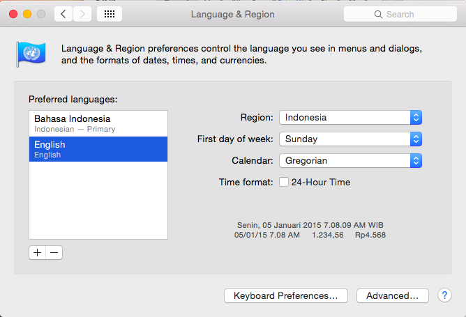 Language and Location Settings Mac