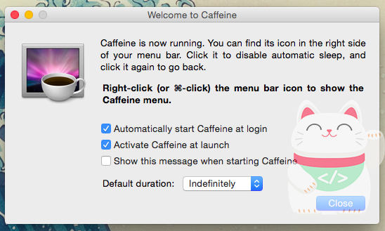 Caffeine applications on the Mac