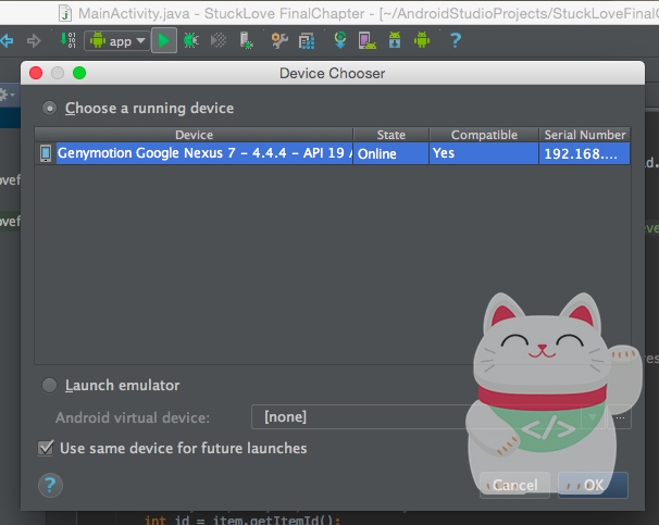 Run Genymotion di Android Studio